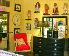 Shelves for dolls...not that the girls have nice ones we could do this with...but I love the idea for when they're older.