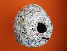 shredded paper collage birdhouse