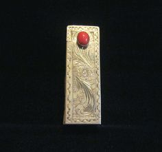 Italian Sterling Silver Lipstick Mirror Case Vintage Lipstick Holder Carnelian Clasp Circa 1900s