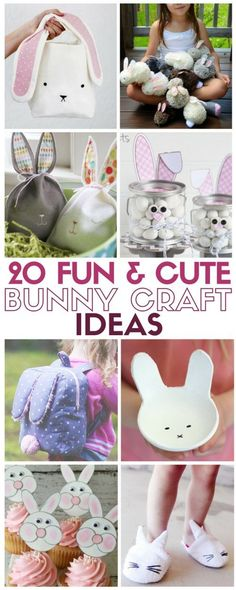 20 easy DIY tutorials for bunnies! Is the rabbit is your favorite animal? Or you're looking for easter bunny craft ideas, you'll find it here!