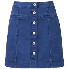 Witchery A Line Denim Skirt (270 BRL) ❤ liked on Polyvore featuring skirts, bottoms, saias, button down skirt, blue a line skirt, knee length a line skirt, blue skirt and short skirts