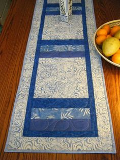Batik French Blue and White Table Runner by derstinedesigns