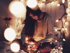 decorando con luces de navidad