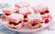 These raspberry and cream cheese layered delights are a fun twist on the classic Australian lamington and are filled with fresh raspberries for a cute treat. Sweet Recipes, Cake Recipes, Dessert Recipes, Pavlova, Cupcakes, Cupcake Cakes, Aussie Food, Raspberry Cheesecake, Small Cake