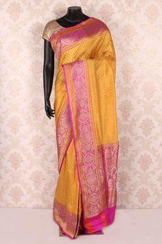 #Yellow pure #banarasi silk zari weaved #pretty saree with antique #gold multicoloured border -SR12111