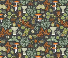 beetles moths lichen and moss fabric by cjldesigns on Spoonflower - custom fabric ~ NUMBER 3 of the Beetles Contest on Spoonflower! Congratulations Julie!