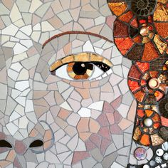 Mosaic detail from portrait of Queen Elisabeth the 1st by Becky Paton