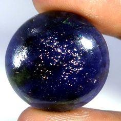 35.75Cts Natural Sunstone Flashing In Iolite Round Cabochon Fine Loose Gemstones #Handmade