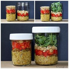 Quinoa Salad-In-A-Jar in 4 International Flavors (mobile) Lunch Recipes, Salad Recipes, Dog Food Recipes, Vegetarian Recipes, Healthy Recipes, Jar Recipes, Healthy Lunches For Kids, Healthy Snacks, Healthy Eating