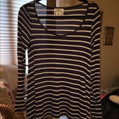 Anthropologie top Navy blue with white stripes. Anthropologie Tops Tees - Long Sleeve