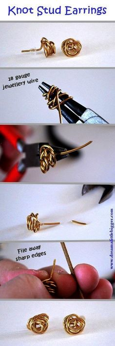 Knot stud earrings very easy DIY.(18g may not feel good in the ears....maybe 20g) Wire Jewelry Tutorials