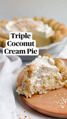 Summer Dessert Recipes, Great Desserts, Delicious Desserts, Yummy Food, Gluten Free Pastry, Coconut Milk Recipes, Holiday Pies, Cream Pie Recipes, Coconut Custard