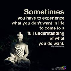 "Sometimes you have to experience what you don't want in life to come to a full understanding of what you do want. Yeah, but I'm still at that stage of ""What do I really want? Buddhist Quotes, Spiritual Quotes, Wisdom Quotes, True Quotes, Great Quotes, Positive Quotes, Quotes To Live By, True Sayings, Genius Quotes"