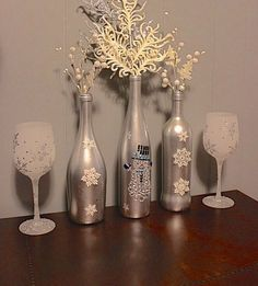 Craft Idea - DIY Holiday Snowman Wine Bottle Decorations