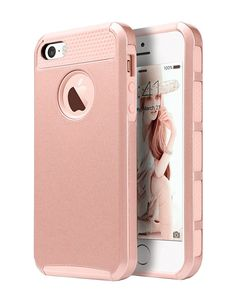 Amazon.com: iPhone 5 Case,iPhone 5S Case,iPhone SE Case, Dual Layer Ultra Slim Bumper Cover Rugged Hybrid Shock-Absorption and Anti-Scratch Protective for iPhone 5 5S SE Deeotech - Rose Gold: Cell Phones & Accessories