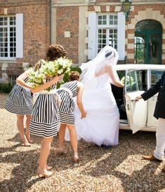 Black and white striped bridesmaid dresses!