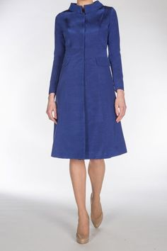 Sapphire Grosgrain A-line Coat - Claire Mischevani Bride Dresses, Designer Wedding Dresses, Blue Fashion, Autumn Fashion, Peggy Olson, Catherine Walker, Bespoke Clothing, Fall Fashions, Groom Outfit