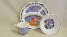 for the kiddies! cute #MaryEngelbreit Melamine Child's Dish Set of by vintagecornucopia #boebot #etsy #etsysellers #etsyshops
