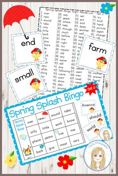Spring Splash Sight Words Bingo Game - Set 2 : Second 100 Words Sight Word Bingo, Sight Words List, Bingo Set, Bingo Games, 4 In A Row, Teacher Helper, 100 Words, Memory Games, Calling Cards