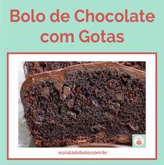 Bolo de Chocolate que fica bem úmido, com gotas de chocolate e cobertura de ganache. #bolo #façaevenda #aprendaonline #chocolate