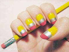 Nails :) funny back to school nail art School Nail Art, Back To School Nails, Diy Nails, Cute Nails, Pretty Nails, Teacher Nails, Pencil Nails, Cute Nail Art Designs, Nails For Kids