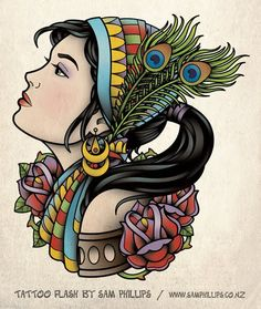Gypsy Head Tattoo Flash