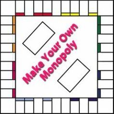 Make your own Monopoly! You'll find everything you need to make your own Monopoly game on this page. Free printable board templates, printable money and card templates! Make Your Own Monopoly, Make Your Own Game, Board Game Template, Printable Board Games, Monopoly Board, Monopoly Game, Custom Monopoly, Monopoly Money, Theme Harry Potter