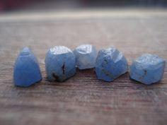 Rough Blue Sapphires  5 Raw Uncut Gems  Genuine by magicgemsbox