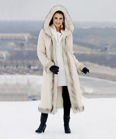 Another great find on #zulily! Ivory Faux Fur-Trim Hooded Coat - Plus Too #zulilyfinds
