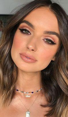 Bold Lip Makeup, Neutral Makeup Look, Soft Eye Makeup, Glam Makeup Look, Glamorous Makeup, Stunning Makeup, Beach Makeup Look, Beauty Makeup, Natural Glam Makeup