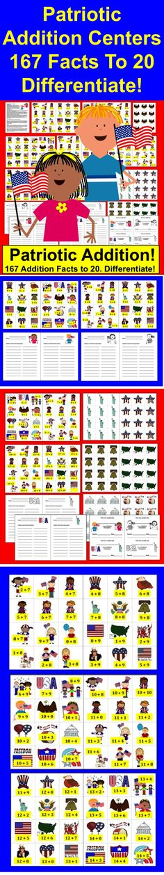 $ Fourth of July Math Centers Activities  ★ Patriotic Fourth of July Addition Fact Activities  ★ 3 Ways to Play  ★ 40 page download – 167 Addition Facts to 20  (Subtraction Facts available in my other product  listings .)