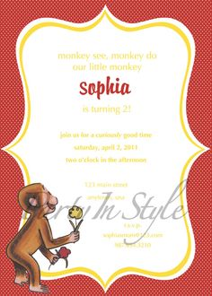 curious george vintage birthday invitation by party in style by elle- absolutely beautiful and perfect!  definitely in the plans for eva's 2nd birthday party!