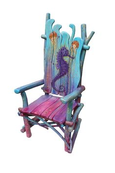 Seahorse rustic stick chair is part of Whimsical furniture - I built this chair for an auction to benefit the Eureka Springs School of the Arts There will be Hand Painted Chairs, Whimsical Painted Furniture, Hand Painted Furniture, Funky Furniture, Paint Furniture, Upcycled Furniture, Rustic Furniture, Furniture Makeover, Furniture Stores
