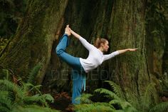 Old Growth Forests are amazing- A young woman does yoga in old growth forest in Goldstream Provincial Park near Victoria, British Columbia, BC, Canada.. @HalfmoonYoga
