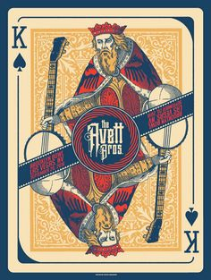 The Avett Brothers event poster for Brooklyn Bowl Las Vegas, September 20, 2016 Artwork by Status Serigraph