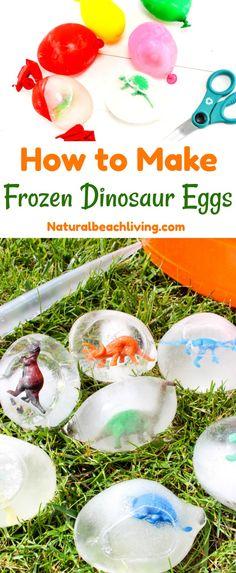 How to Make Frozen Dinosaur Eggs Kids Love, Excavating Dinosaurs, Dinosaur Activity, Dinosaur Theme, Dinosaur Science, Frozen Sensory Play, Summer ideas, Water Play for Kids, Dinosaur theme activities, Summer Science Ideas, frozen dinosaur egg hatches, dinosaur ice eggs, frozen dinosaurs, ice excavation activity, how to make dinosaur eggs #science #dinosaur #frozeneggs #dinosaureggs #dinosaurtheme #preschool #summer #sensoryplay #summeractivities #kidsactivities