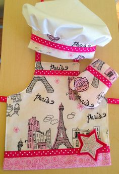 American Girl Doll Apron 3 piece chef set 18 by BeautifulByMarcela