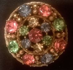 #Vintage #Jewelry Vintage brooch/ pin, Weiss, multicolored rhinestones #Christmas #Gifts