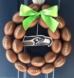 Seattle Seahawks Burlap Football Wreath by NTgoodthings on Etsy Burlap Football, Baseball Wreaths, Football Crafts, Sports Wreaths, Football Wreath, Football Themes, Football Parties, Seahawks Fans, Seahawks Football