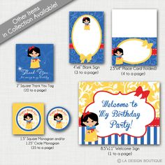 Snow White Birthday Disney Princess Birthday Party Printable Collection INSTANT DOWNLOAD by LaDesignBoutiqueShop on Etsy
