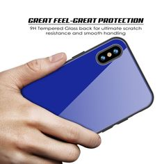 iPhone X Case, Punkcase GlassShield Ultra Thin Protective 9H Full Body Tempered Glass Cover W/ Drop Protection & Non Slip Grip for Apple iPhone 10 [Blue]      ★ PUNKCASE iPHONE X GlassShield: Minimalist & Stylish Dual Layer 9H Tempered Glass Case with additional TPU and PC layer.