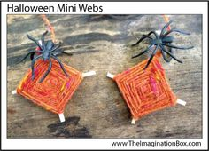 Make these mini 'god's eyes' halloween webs with wool and matchsticks. Add a spider, dangle and watch it spin!
