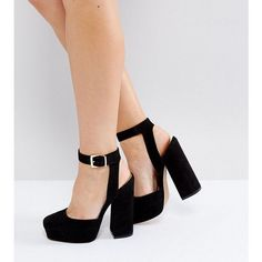 ASOS PINATA Wide Fit Platforms ($59) ❤ liked on Polyvore featuring shoes, black, black ankle strap shoes, high heeled footwear, black prom shoes, high heel platform shoes and party shoes #promshoesblack