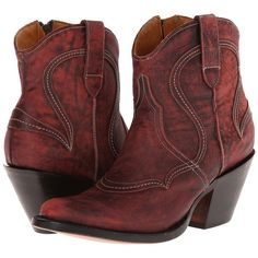 Lucchese M4923 Cowboy Boots ($140) found on Polyvore featuring women's fashion, shoes, boots, ankle boots, burgundy, leather cowgirl boots, lucchese boots, ankle cowgirl boots, short cowgirl boots and cowboy boots