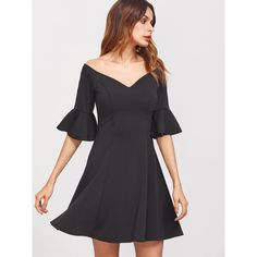 Black V Notch Off The Shoulder Ruffle Sleeve Skater Dress (745 DOP) ❤ liked on Polyvore featuring dresses