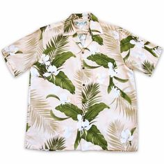 d4599fba White ginger flowers are front & center in this handsome, rayon Aloha shirt.  Hawaiian