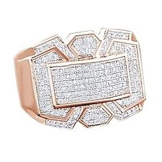 5/9 Ct Round Cut D/VVS1 14K Rose Gold Over Men'S Cluster Wedding Band Ring # Free Stud Earrings by JewelryHub on Opensky