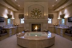 Traditional Master Bathroom with Limestone counters, Limestone Tile, Hollywood golden age regency mirror wall clock, Flush