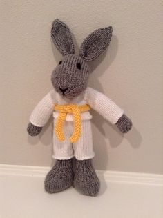 Knit Judo Bunny Toy   Stuffed Bunny  Knitted by EightLittleFingers, $40.00