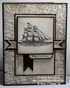 The Open Sea and World Map Stamp Sets. Early Espresso, Very Vanilla. Linen Ribbon and Early Espresso Grosgrain Ribbon. Sponging with Soft Suede Ink Masculine Birthday Cards, Birthday Cards For Men, Masculine Cards, Male Birthday, Stampin Up Karten, Boy Cards, Men's Cards, Nautical Cards, Stamping Up Cards